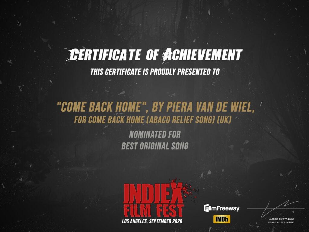 IndieX Film Fest Certificate of Achievement